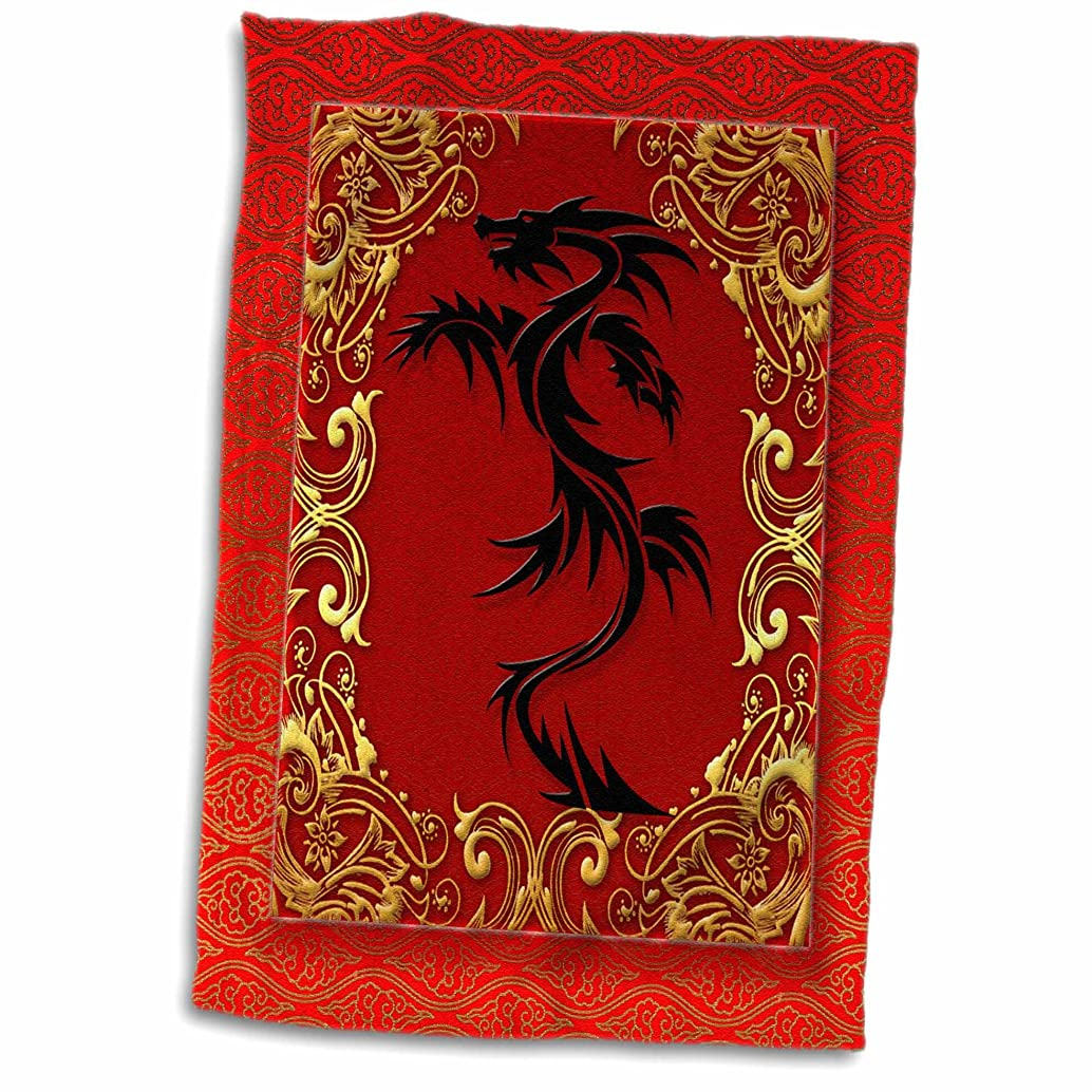 3D Rose Zodiac Dragon Chinese New Year Red-Gold and Black Hand/Sports Towel, 15 x 22