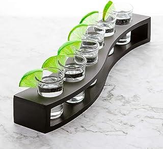 Shot Glasses Set of 6 with Wood Layered Base - 1 oz Cool Shot glasses