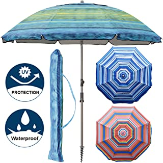 Blissun 7.2' Portable Beach Umbrella with Sand Anchor, Tilt Pole, Carry Bag, Air Vent (Green)