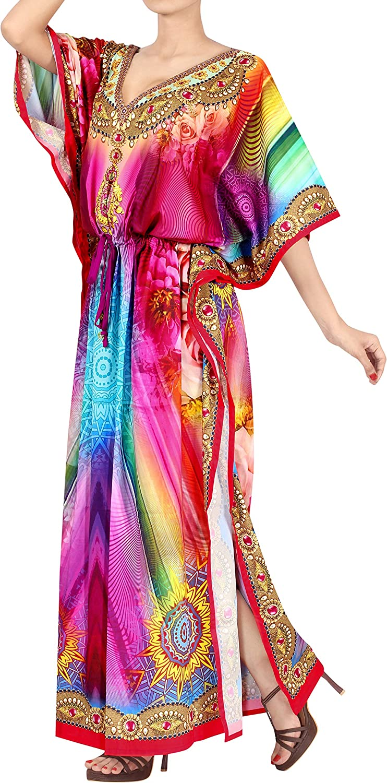 HAPPY BAY Women's Maxi Kaftan Swimsuit Cover Ups Sleep Casual Dress Drawstring