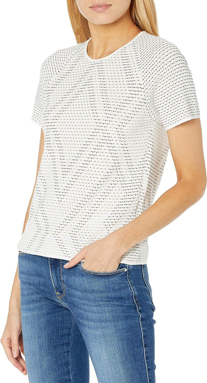 Emporio Armani Women's Short Sweater Stitch Max 61% OFF Sleeve Pointelle Ranking TOP1