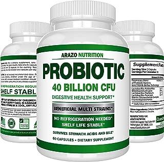 Probiotic 40 Billion CFU - Shelf Stable with Prebiotics and Acidophilus - Guaranteed Potency Until Expiration – Time Delay Release Probiotics – Arazo Nutrition