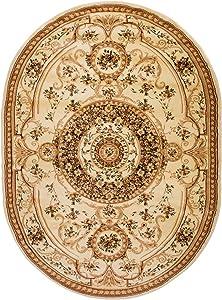 Alfombra De Salón Ovalada Clásica Colección Noble – Color Crema Beige De Diseño Bordura Ornada – Mejor Calidad – Varias Dimensiones S-XXXL 160 x 220 cm