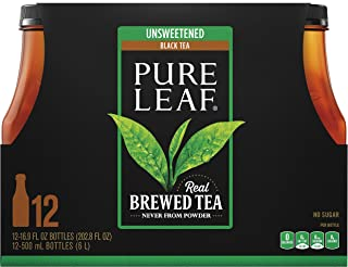 Pure Leaf Unsweetened Iced Tea, Real Brewed Black Tea, 16.9 Ounce Bottles, 12 Count