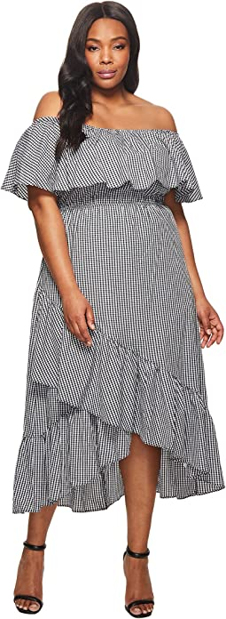KARI LYN - Plus Size Ann Off the Shoulder Gingham Dress