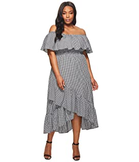 Plus Size Ann Off the Shoulder Gingham Dress