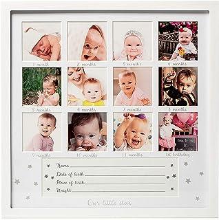 Natinr Personalized Baby Souvenir Photo Album Baby Keepsake Frame Kit for Newborn First Year Frame