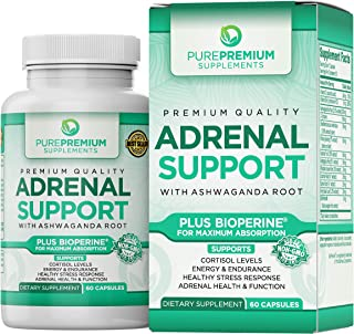 Premium Adrenal Support Supplement by PurePremium (Non-GMO & Gluten-Free) Maximum Strength Formula - Support Cortisol Levels and Reduce Stress with Ashwagandha Root, Vitamin B and C