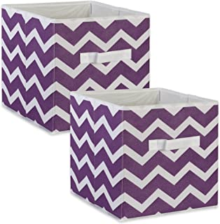 DII Foldable Fabric Storage Bins for Nursery, Offices, Home, Containers are Made to Fit Standard Cube Organizers, Small (2), Eggplant