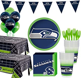 Party City Seattle Seahawks Super Party Supplies for 36 Guests, Include Plates, Napkins, Table Covers, and Balloons