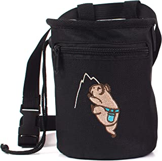 Craggy's Chalk Bag for Kids and Adults with Drawstring Closure, Zippered Pocket, Adjustable Quick-Clip Belt and Embroidered Koala Design