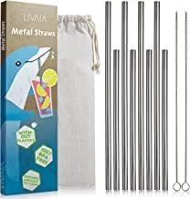 Stainless Steel Reusable Straws Drinking: Metal Straws Reusable 8 Set with Straw Cleaner Brush in 2 sizes and Case - Straw...