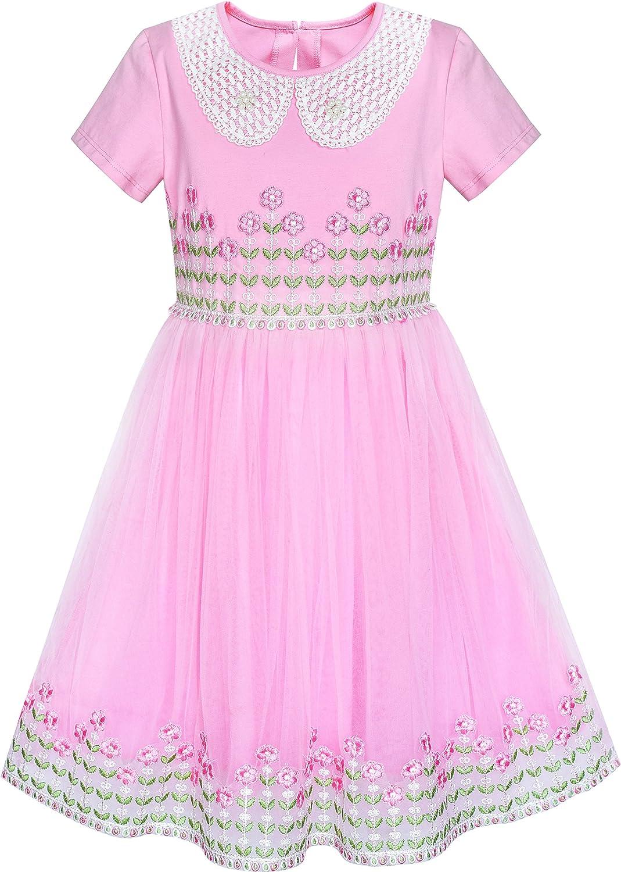 Sunny Fashion Girls Dress White Collar Pink Lace Short Sleeve Birthday Size 6-12