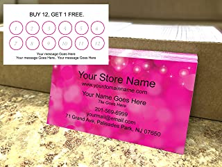 Custom Loyalty Cards 500 pcs Full Color- Pink, Printed on Classic matte paper 14pt (114 lbs. 308gsm-The best paper stock for ink stamping or writing, Fast dry), Offset Printing, Made in The USA
