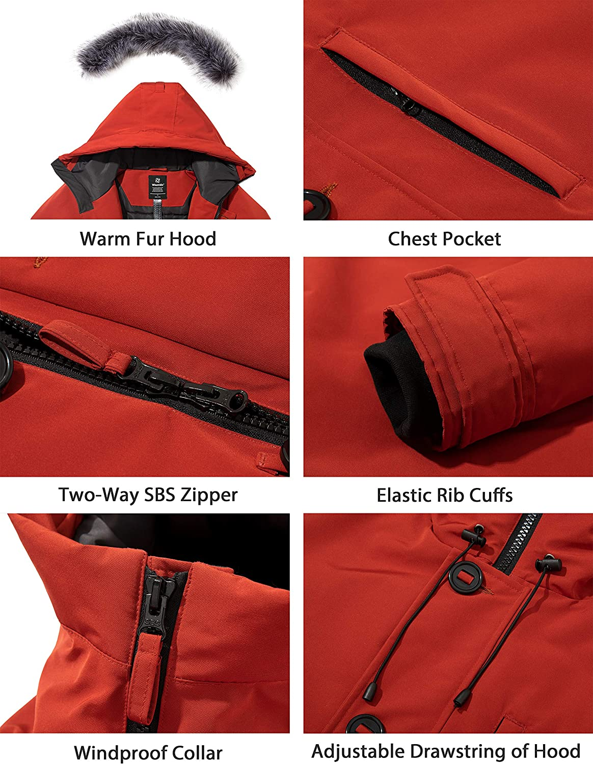 Wantdo Men's Warm Puffer Jacket Winter Snow Coat Thickened Parka with Hooded
