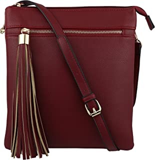 B BRENTANO Vegan Double-Zip Pocket Crossbody Handbag Purse wih Big Tassel  Accent 24eb219cb9c99