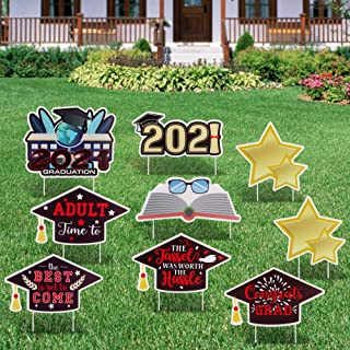 FiGoal 2021 Graduation Yard Sign Decorations Corrugated Yard Stake Signs Outdoor Decorations with Stakes Yard Signs for Gr...