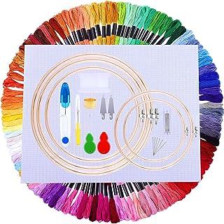 URATOT 133 Pieces Embroidery Starter Kit 100 Colors Embroidery Threads 5 Pieces Bamboo Embroidery Hoops 2 Pieces Aida Clot...
