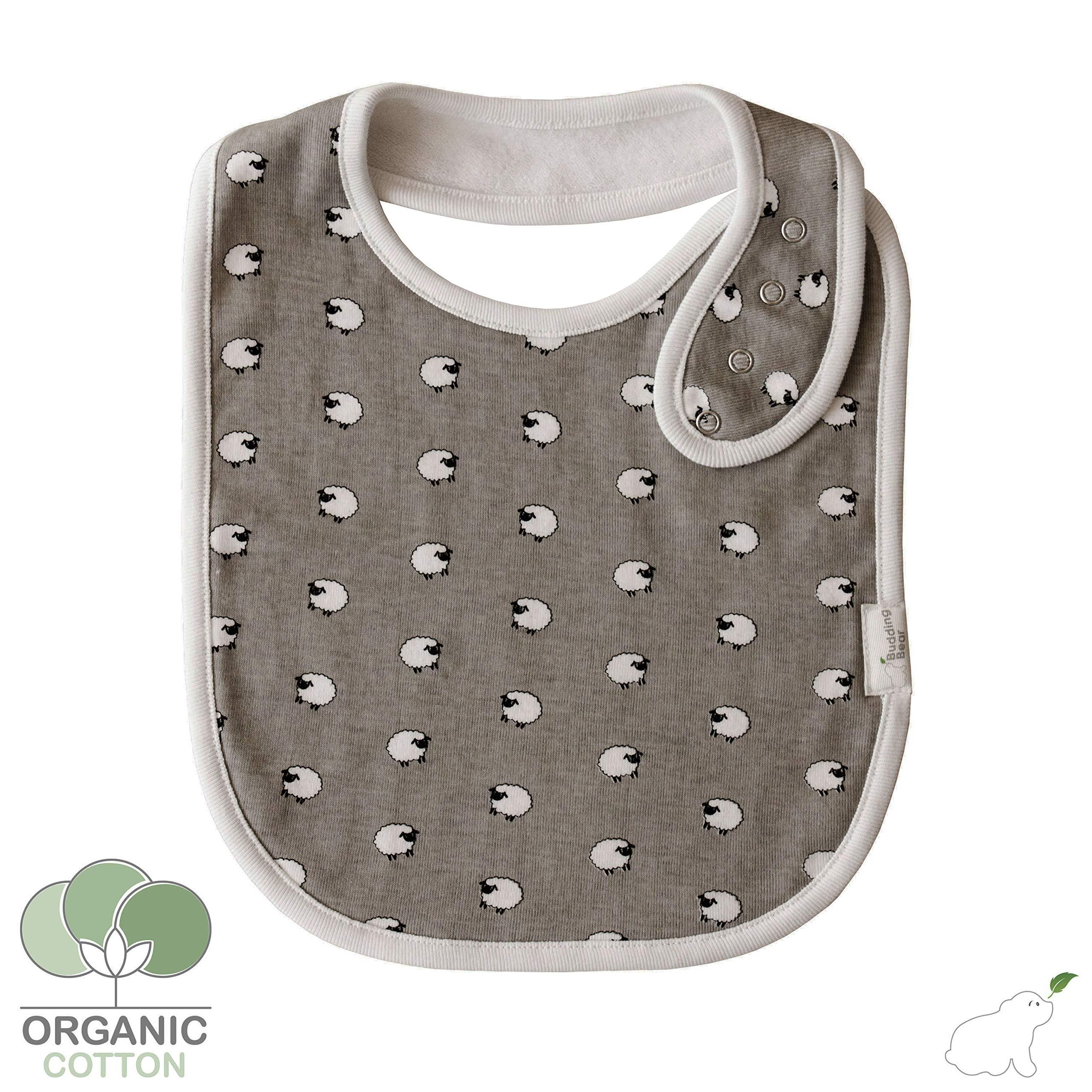 Sheep Design Absorbent Towel Backing Baby Dribble Bibs Pack of 1 100/% Organic Cotton Bibs Grey and White Bibs Budding Bear Premium Baby Bibs Unisex