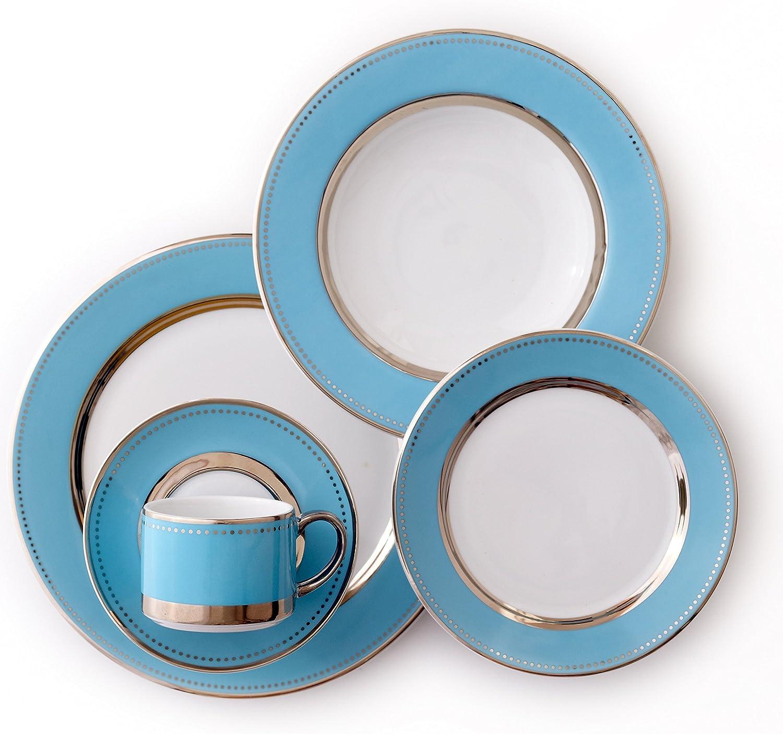 CRU by Darbie Angell Lauderdale 5 Piece Place Setting Dinnerware Set, Sea bluee Platinum White  - DALA161043