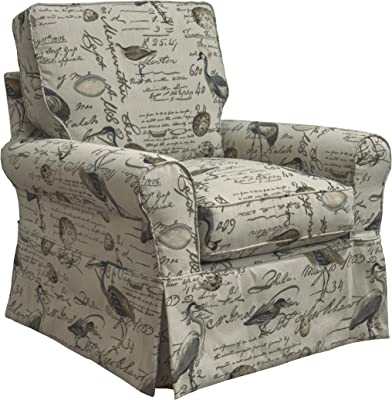 Sunset Trading Horizon Swivel Rocking Chair, Cream/Brown/Gray/Green/Blue