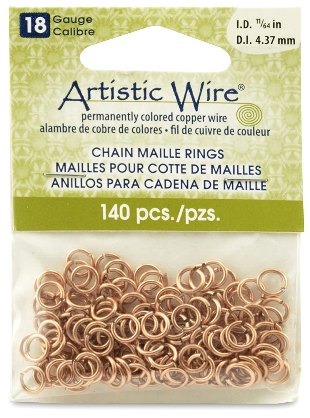 Artistic Wire 18-Gauge Natural Chain Maille Rings, 11/64-Inch Diameter, 140-Pieces