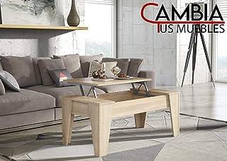 CAMBIA TUS MUEBLES - Mesa de Centro elevable para Comedor, salón ALINSA, Color Roble, Mesa Auxiliar, Mayor Grosor