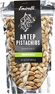 Emirelli Turkish Antep Pistachios, In Shell Roasted and Salted Intense Nuts, Non GMO Natural Vegan Snacks, Remains Fresh with Resealable Bag (Roasted, Salted Pistachios - In Shell, Pack of 1)