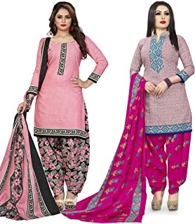 Rajnandini Women's Light Pink and Pink Cotton Printed Unstitched Salwar Suit Material (Combo Of 2) (Free Size)
