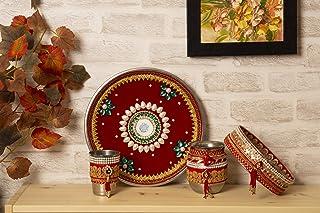 Indotribe 4pc Red Karwa Chauth Thali Set Karva Chauth Thali Set Karwa Chauth Pooja Thali Karva Chauth Set Diwali Decoratio...