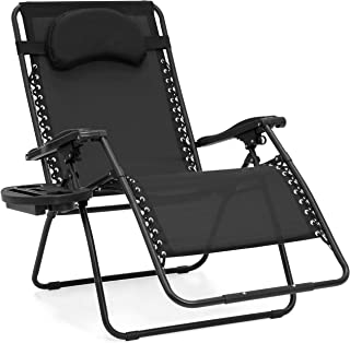 Best Choice Products Oversized Folding Mesh Zero Gravity Recliner Chair w/Cup Holder Accessory Tray and Removable Pillow, Black