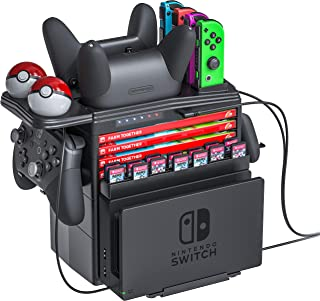 Skywin Charging Tower for Nintendo Switch Compatible with Nintendo Switch Accessories - Charge Display and Organize Joy-Cons Pro Controllers Charging Grip Poke Balls Game Boxes Game Cards Switch Dock