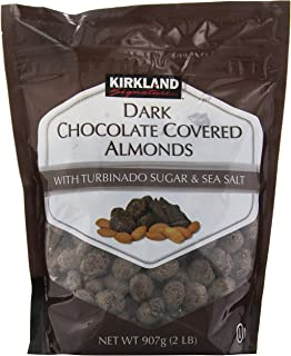 Kirkland Dark Chocolate Covered Almonds With Turbinado Sugar and Sea Salt - 32 Ounce