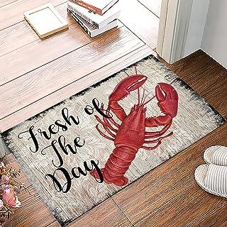 Savannan Floor Mat Indoor Doormat, Red Lobster Seafood Fresh of The Day Vintage Wood Board Plank Low-Profile Anti-Slip Rub...