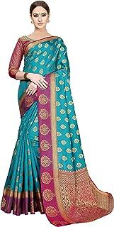 Soru Fashion Women's Banarasi Cotton & Art Silk Blend Saree with Unstitched Blouse Pieces