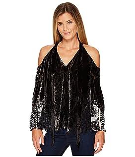 Creative License Silk with Burnout Velvet Cold Shoulder Top