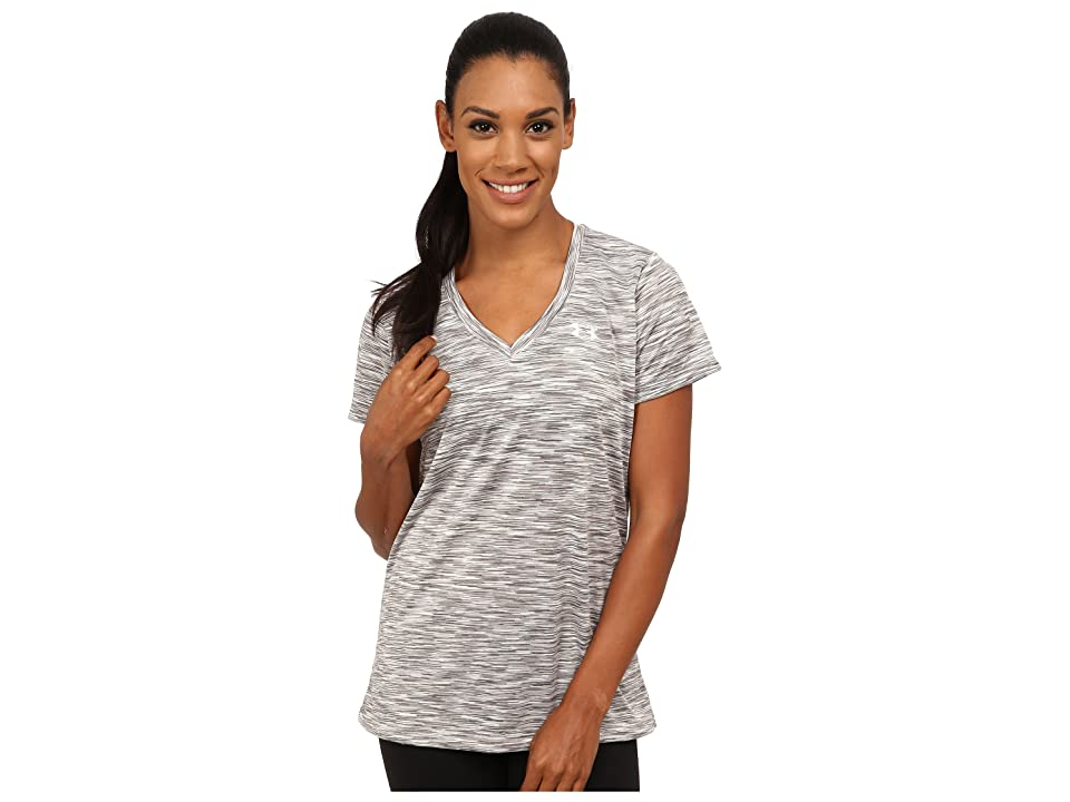 Under Armour UA Techtm Disruptive Space Dye Short Sleeve V-Neck (Boulder/Graphite/Metallic Silver) Women