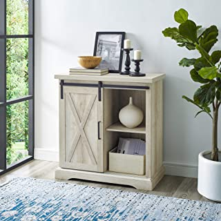 Walker Edison Modern Farmhouse Buffet Entryway Bar Cabinet Storage Entry Table Living Room, 32 Inches Tall, White Oak