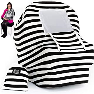 Nursing Cover Carseat Canopy | 5-in-1 Car Seat Covers for Babies, Stretchy Baby Car Seat Cover, Infant Stroller, Carseat Cover for Boys & Girls, Breastfeeding Cover Ups – Black & White by LittleGiggle