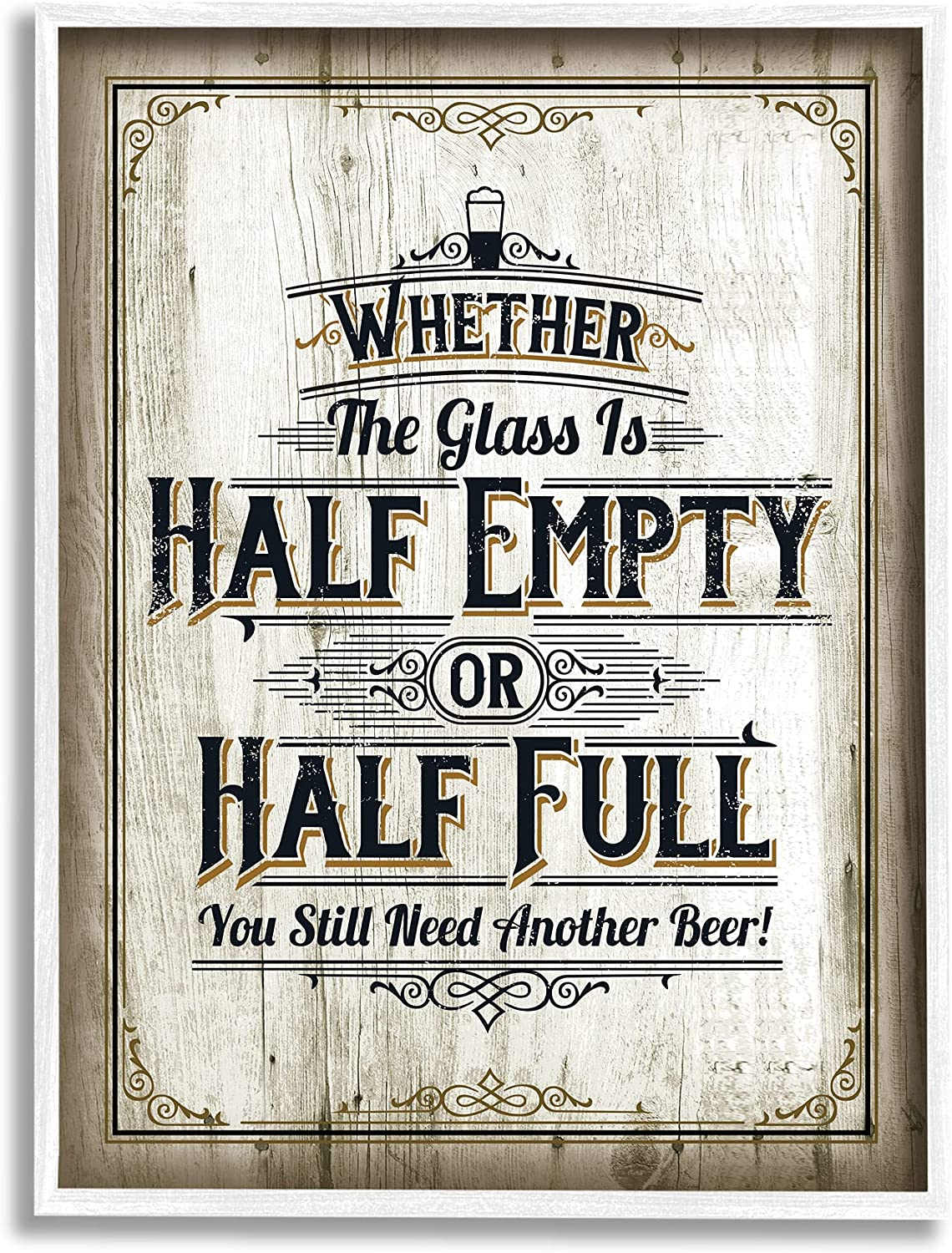 Charlotte Mall Stupell Industries Half Empty Beer Sign Room Design Gifts Bar Word by