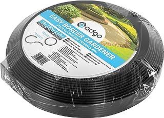 Adgo Bordure de jardin flexible 10 m avec 20 piquets Bordure de pelouse ou d'allées en plastique graphite foncé.