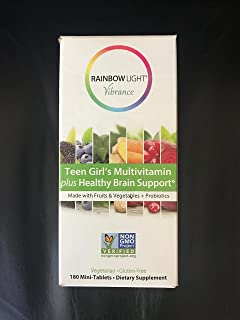 Rainbow Light Vibrance Teen Girl's Multivitamin plus Healthy Brain Support 180 mini tablets