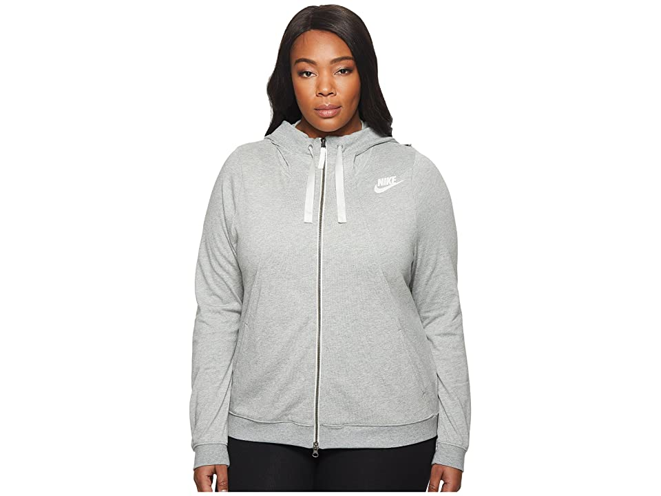 Nike Sportswear Gym Classic Full-Zip Hoodie (Size 1X-3X) (Dark Grey Heather/Sail) Women