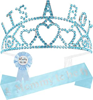 Mommy to Be Tiara Set, It's a Boy Tiara, Mommy to Be Sash, Daddy to Be Pin, Baby Shower Sash and Tiara, Baby Shower Decorations for Boy, Gift for Mother to Be