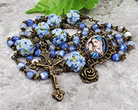 Saint Therese Chaplet Handcrafted in Pink Jade Gemstone with Handmade Rose