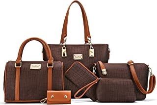 Women Shoulder Bag Tote Bag for Work Handbag and Purse 6 Piece Set Bag