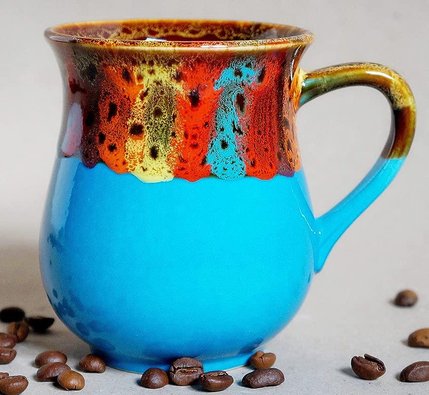 Handmade Pottery Rainbow Coffee Mug Blue Ceramic Tea Cup Rainbow Gift For Friend Him Bright Blue Sky Xmas Gift