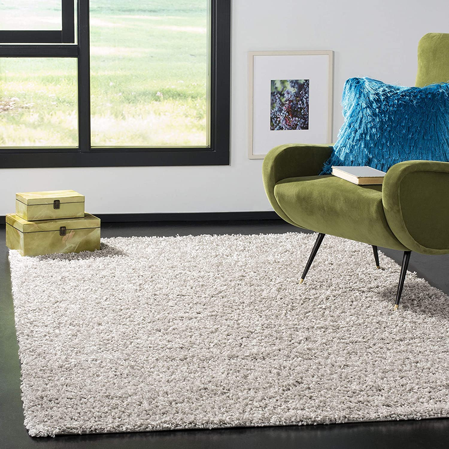 SAFAVIEH Athens Shag Collection SGA119S Non-Shedding Living Room Bedroom Dining Room Entryway Plush 1.5-inch Thick Area Rug, 3' x 5', Silver