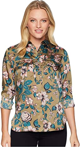 Petite Floral-Print Button-Down Shirt