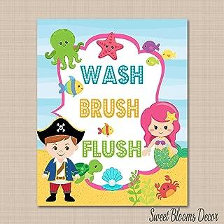 Pirates Mermaid Bathroom Wall Art,Brother Sister Bathroom,Boy Girl Bathroom Wall Art,Pirates Bathroom.Wash Brush Flush Bath,Under the Sea Bathroom 8